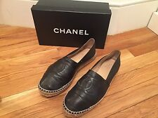 Chanel Black Leather Espadrilles Size 41