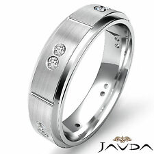 Bezel Set Diamond Eternity Wedding Band Platinum Bevel Edge Mens Ring 0.15Ct