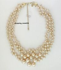 "Lia Sophia ""Rosedust"" Glass Pearls Necklace 16-19"""