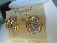 Earrings CLIP ON Gold Dome with Clear Crystals and Comfort Back