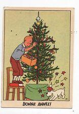 Carte postale Hergé. Tintin décore l'arbre de Noël. Casterman 1950