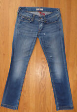 * FORNARINA * 'Pin Up' Straight Boyfriend Low Distressed Destroyed Jeans 30 x 32