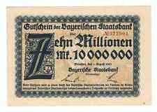 Germany Bayerischen Staatbank 10 Million Mark Munchen 1923
