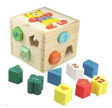 Montessori wooden toy gift bear wisdom box shape match game baby early learning
