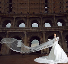 5m Long Cathedral Lace Satin Edge Veil 1 Tier Bridal Wedding Accessory no Comb