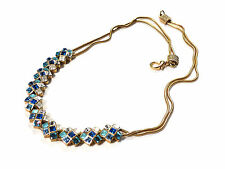 Bijou alliage doré collier double maille serpent cristal bleu necklace