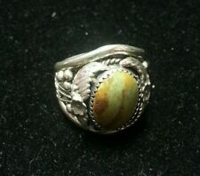 Vintage Old Pawn Sterling Silver Mens Ring with Green Royston Stone Sz: 11 3/4