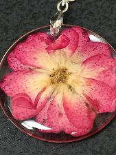 "Flower Daisy Red Real in Clear Resin Circle Charm Tibetan Silver 18"" Necklace"