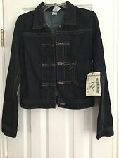 NWT TRUE RELIGION SzS WOMEN PIPER DENIM JACKET DARK BLUE