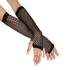 Punk Goth Disco Dance Costume Lace Fingerless Mesh Fishnet Gloves Price *