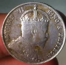 1910 Straits Settlements KEVll  20 cents silver coin high grade!