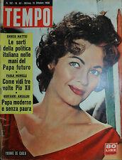 TEMPO N° 43/ 21.OTT:1958 - YVONNE DE CARLO - COME VIDI TRE VOLTE PIO XII -
