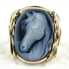 Horse Black Agate Oval Stone Cameo Ring 14k Rolled Gold Jewelry Any Size