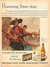 "Original 1940s Schlitzr Beer ""Pioneering since 1849"" 14 inch tall Advert"
