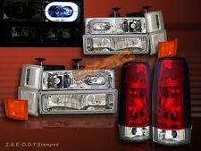 1994 1995 96 97 1998 CHEVY FULL SIZE HEADLIGHTS CLEAR HALO 10 PC+TAIL LIGHTS RED