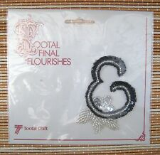 Sequins and beads patch letter E sew on clothes badge, Tootal Craft