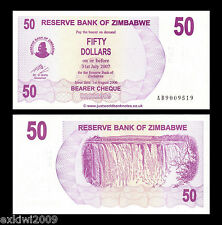 Zimbabwe 2006 50 Dollars Bearer P-41 Mint UNC Uncirculated Banknotes