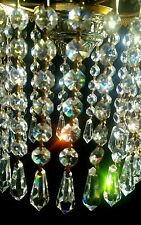 6 STRINGS  of  70 Vintage Chandelier Crystals Prisms Octagon w Drops Pendants