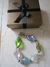 NEW IN GIFT BOX ARTESIAN HAND CRAFTED PASTEL ART GLASS TOGGLE BRACELET