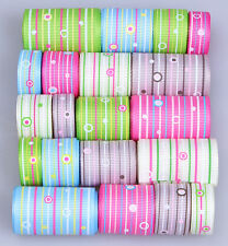 """freeshipping 20yards 3/8""""~1.5"""" mixed 20 style grosgrain line hot ribbon lots"""
