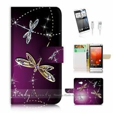 HTC One M7 Flip Wallet Case Cover! P1844 Dragonfly