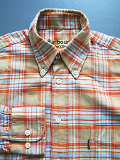 Barbour Winter Check Shirt Men's Small Orange Blue Brown Checked Vintage LSHz494