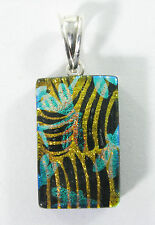 blue dichroic glass pendant 925 findings