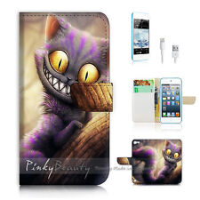 iPod Touch iTouch 5 Print Flip Wallet Case Cover! Cartoon Cheshire Cat P0327