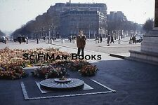 KODACHROME Red Border 35mm Slide France Paris Eternal Flame Man Old Cars 1950s!