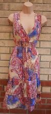 CHAUDRY PAISLEY PINK BLUE CREAM LEOPARD BELTED SKATER FLIPPY GYPSY DRESS M 12