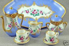 LIMOGES BOX FRENCH LIMOGES FLORAL 8pc TEA SET 2 LIMOGES BOXES 5 MINIATURES TRAY