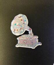 Retro Vintage Music Horn Phonograph Polka Dot Shabby Chic Craft Patchwork Brooch