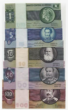 BRAZIL OLD FULL SET***1-5-10-50-100 CRUZEIROS***UNC GEM***LOOK SUPER SCAN