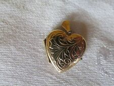 9ct Gold Heart Locket Etched Decoration