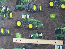 Brown Tire Tread John Deere Tractor Cotton Fabric by the Yard