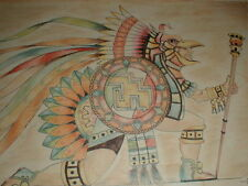 SW Native American Indian Mexican VTG Drawing Painting Board Shaman Dance JOSE