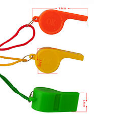 3pcs Mini Plastic Whistle With Lanyard For Survival Referee Party's Tools