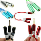 3.5mm Stereo Audio Y Splitter 2 Female to 1 Male Cable Cord Adapter For Earphone
