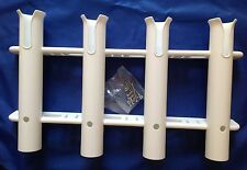 FISHING ROD POLE RACK X 4 WHITE  s/s SCREWS  EASY TO FIT  BOAT SAIL FISHING