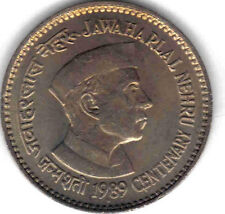 INDIA: UNCIRCULATED 1989 100TH ANN. NEHRU'S BIRTH COMMEMORATIVE 1 RUPEE, KM #83