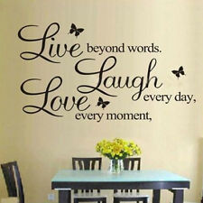 DIY Live Every Moment Laugh Every Day Love beyond Words Vinyl Art Wall Sticker