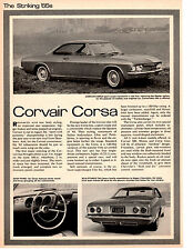 1965 CHEVROLET CORVAIR CORSA ~ ORIGINAL NEW CAR PREVIEW ARTICLE / AD