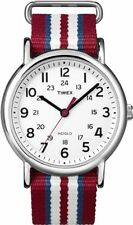 Timex T2N746 Weekender Slip Thru Red, White & Blue Stripe Nylon Strap Watch