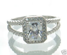 Solid 925 Sterling Silver Emerald-Cut Lab Simulated Diamond Solitaire Ring Sz-8'
