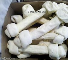 Giant Big Rawhide Knotted Bones Bulk Lot NATURAL Lennox 18 Inch Grass Fed cattle