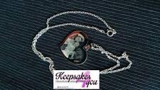 Personnalisé photo et texte gravé grand collier coeur, pendentif