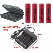4PCS 3.7V 9900mAh 18650 Li-ion Rechargeable Battery + US/UK/AU/EU Charger + BOX