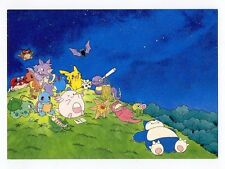 Pokemon 1999 Starry Night Japanese Promo Beautiful Post Card Pikachu Squirtle