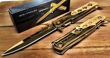 Spring Assisted Asst STILETTO Style Pocket Knife with Clip- Gold