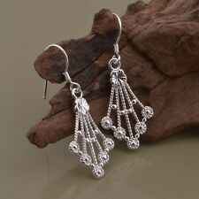 Ladies 925 Sterling Silver Retro Floral Textured Fashion Drop Dangle Earrings